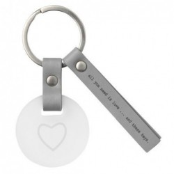 Porte clé cuir et verre - All you need is love - Rader