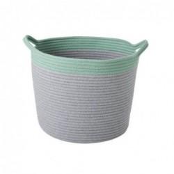 Corbeille textile - L - Rice - Grise et verte