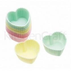 Lot de 12 mini-caissettes cupcake - coeurs - kitchencraft