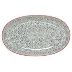 Plat oval Cécile - Bloomingville - Fleur grise