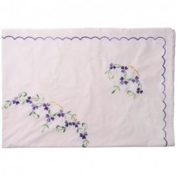 Nappe brodée rectangulaire - Rice - Soft pink and flowers
