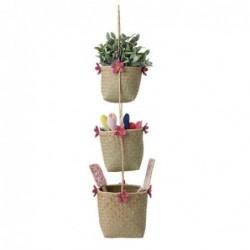 Suspension de trois paniers - Rice - Fleurs roses