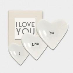 Set de 3 cœurs en porcelaine - East of India - I Love You
