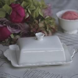 Beurrier blanc en porcelaine  - Chic Antique