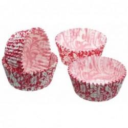 Lot de 60 caissettes a cupcakes - rose et blanc