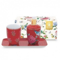 Coffret de 3 accessoires bain - Good morning - Rouge - Pip Studio