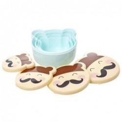 Lot de 4 boites alimentaires - Rice - Mr Moustache - Bleu ciel