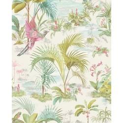 Papier peint Pip Studio - Palm Scene White - ref 300140