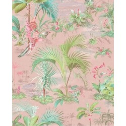 Papier peint Pip Studio - Palm Scene Pink - ref 300141
