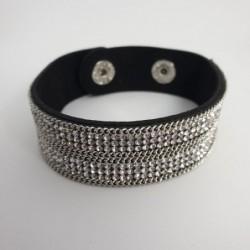 Bracelet pailleté argent en cuire synthétique - Nusa Dua