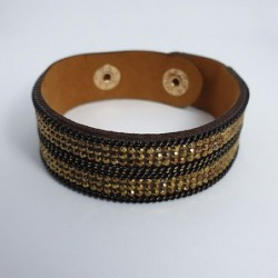 Bracelet pailleté or en cuire synthétique - Nusa Dua