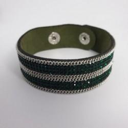 Bracelet pailleté émeraude en cuire synthétique - Nusa Dua