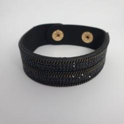 Bracelet pailleté noir en cuire synthétique - Nusa Dua