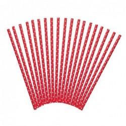 Lot 24 pailles - papier - rouges à pois