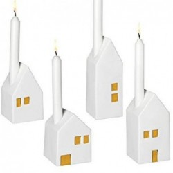 Lot de 4 bougeoirs maisons - Rader - Or