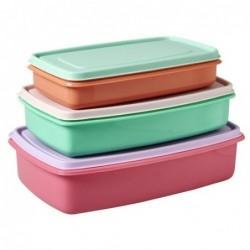 Lot de 3 Boîtes alimentaires rectangulaires  - Rice - couleurs assorties