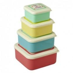 Lot de 4 Boîtes alimentaires avec slogan - Rice - couleurs assorties