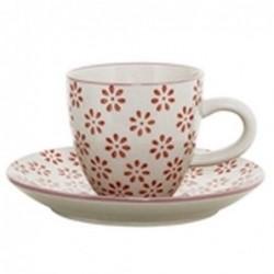 Tasse et soucoupe expresso Susie - Bloomingville - Fleurs rouges