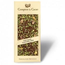 Tablette de chocolat - Gourmande - Lait Pistache caramélisée - 90g