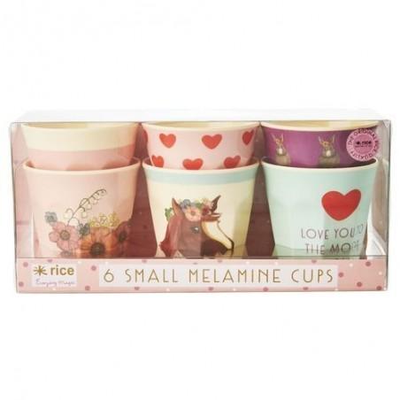 6 gobelets - Rice - Mélamine - Farm animals - Pink