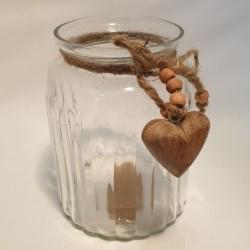 Pot en verre - Country Casa - Cœur en bois