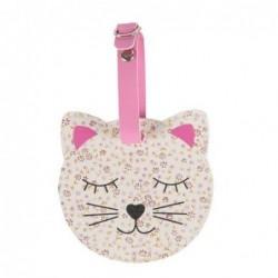 Étiquette à bagage - Floral friends cat - Sass & Belle - Blanc