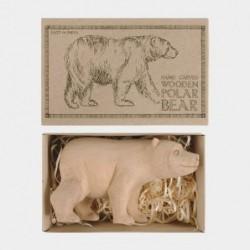 Figurine et boite - East of India - Ours polaire sculpté en bois