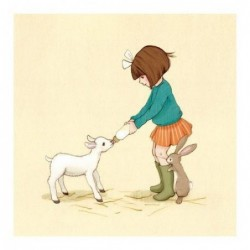 Sérigraphie - Belle and Boo - Belle and her little lamb