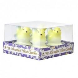 Lot de 4 bougies chauffe plat  - Rice - Oiseaux jaunes