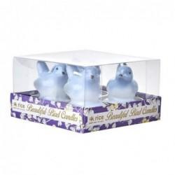 Lot de 4 bougies chauffe plat  - Rice - Oiseaux bleus