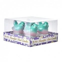 Lot de 4 bougies chauffe plat  - Rice - Oiseaux verts