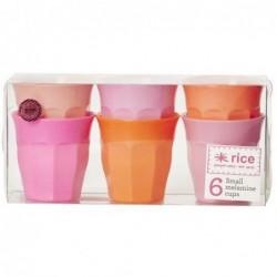 6 Gobelets Mélamine - Rice - Pink and Orange Colors - 7x7cm