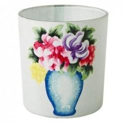 Photophore en verre - Rice - Bouquet de fleurs - blanc