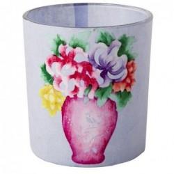 Photophore en verre - Rice - Bouquet de fleurs - bleu