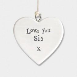 Cœur en porcelaine - East of India - Love you sis