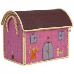 Maison Range Jouets - Petite Fille et chat - Moyen Modèle