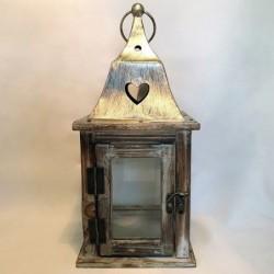Lanterne en bois - Country casa - Cérusé blanc