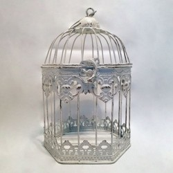 Cage décorative hexagonale - Country casa - Blanc