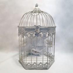 Cage décorative hexagonale - Country casa - Oiseaux blancs
