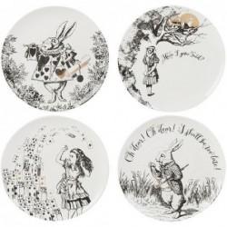 Set de 4 assiettes à dessert - Alice in wonderland