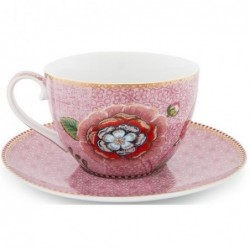Pip Studio -Tasse Cappuccino et soucoupe Spring to life - 280 ml - rose