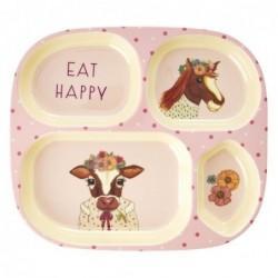 Assiette enfant Rice à compartiments - Farm animals - Pink