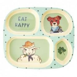 Assiette enfant Rice à compartiments - Farm animals - Green