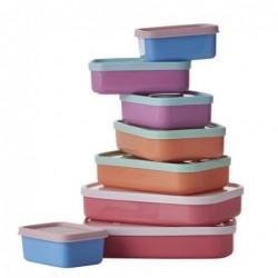 Lot de 8 boites alimentaires rectangulaires - Rice - 3 X 11 X 17cm - RVB