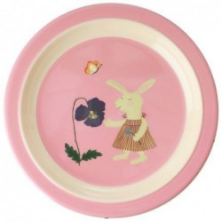Assiette plate à rebord - Rice - Animal - Pink Bunny