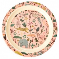 Assiette plate à rebord - Rice - All over jungle animals - Coral