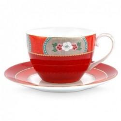 Tasse et sous tasse à thé - Blushing Birds - Rouge - Pip Studio - 28 cl