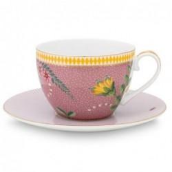Tasse et sous-tasse à thé - La Majorelle - Rose - Pip Studio - 25 cl