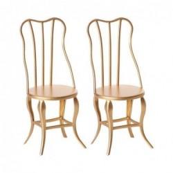 Lot de 2 chaises vintage micro - Maileg - Or