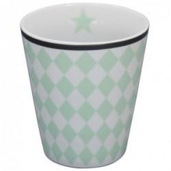 Mug - Krasilnikoff - Blanc - Damier vert